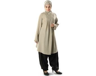 Stylish & Elegant Islamic Tunic With Pleats at Neckline, Maternity Top/Blouse Dresses, Muslim Kurti Clothing, Pockets on Both Sides KRF-116