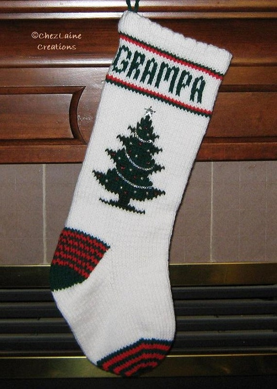 Christmas Stocking Knitting Pattern Circular Needles : Christmas Tree Christmas Stocking Knitting Pattern No. 101