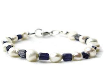 Blue white bracelet, blue bracelet, white bracelet, iolite bracelet, pearl bracelet,