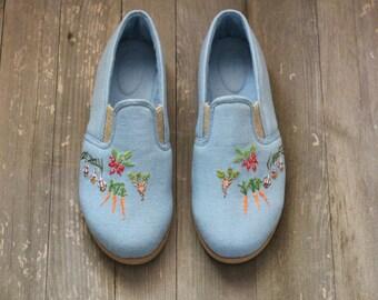 Summer Flats fabric shoes Summer Shoes Vegan Flat shoes Vegan Shoes Handmade Shoes Women Shoes Flats Oxford Shoes Natural Shoes Boho