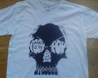 Iggy And The Stooges Iggy Pop Skull Printed T-shirt Top. Rare Punk Garage Rock Vintage Tour Style