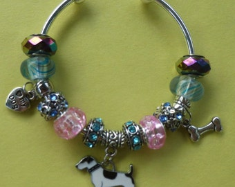 Adorable Full Color Terrier European Pand*ra Style Charm Bracelet