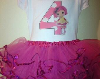Lalaloopsy birthday Dress 2pc Tutu Outfit1T,2T,3T,4T,5T,6T..