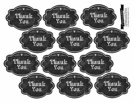 "Printable Thank you Chalkboard tags- 2x3"" - instant download digital ..."