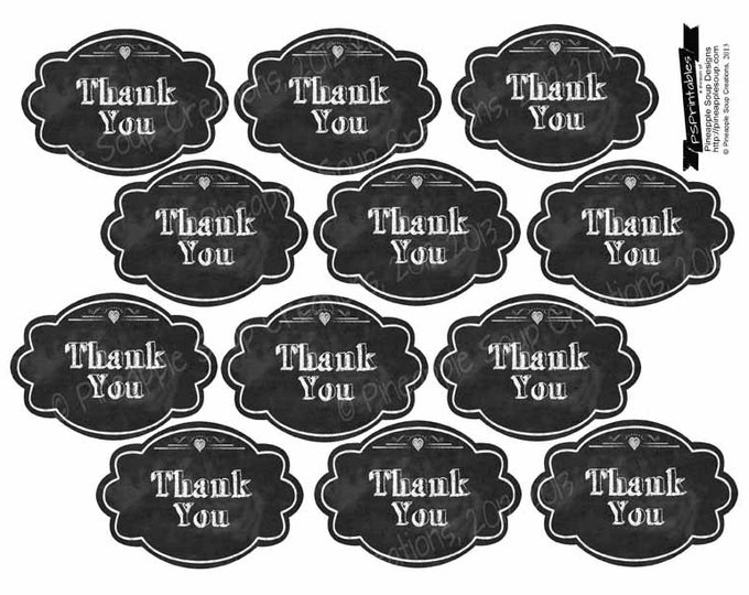 "Printable Thank you  Chalkboard tags- 2x3"" - instant download digital file - DIY - Rustic Collection"