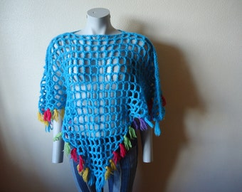 Crochet Holey Poncho Bright  Blue Colorful Fringe Handmade