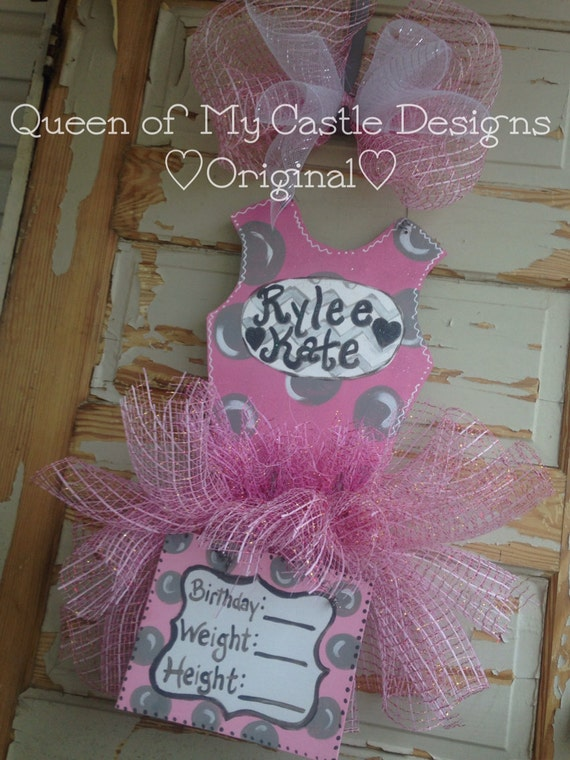 Baby Girl Tutu Birth Announcement Door Hanger