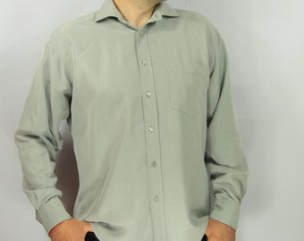 Striped Light Gray Mens Formal Shirt Dress Long Sleeve Button Up Pocket Pullover Shirt Large Size
