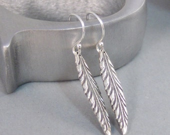 Feather Leaf,Earrings,Organic,Silver Earrings,Rustic,Silver Leaf Earrings,Nature,Leaf,Leaves,Sterling Silver Earrings.SeaMaidenJewelry