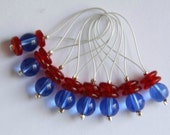 Snagless blue and red pressed glass bead stitch markers - set of 8
