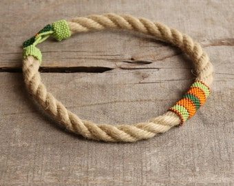 Ethnic necklace African choker rope necklace orange green Summer fashion