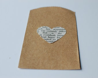 25 Small Book Page Heart Favor Bags