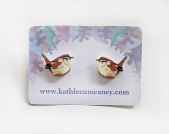 Wren bird stud earrings