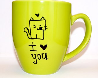 Hand Drawn I Love You Cat Mug (Customizable)