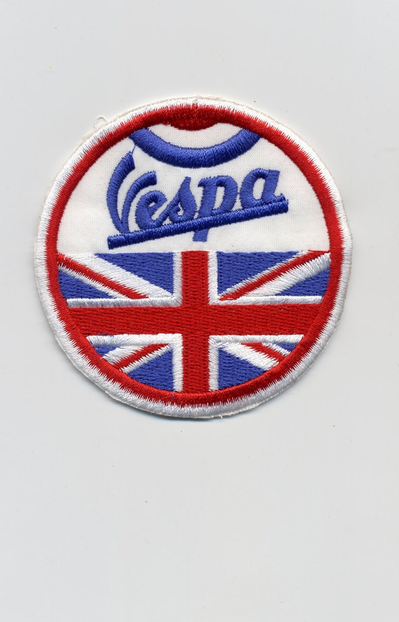 Vintage Style Vespa Patch Badge With Flags U K U S A And