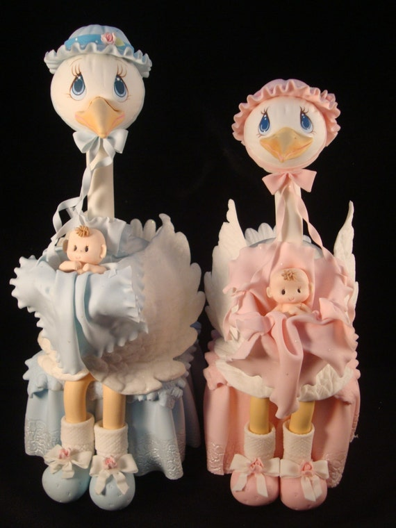 Cake Toppers Baby Shower Etsy : Boy Baby Shower Stork Cake Topper Pink Cake Topper Baby