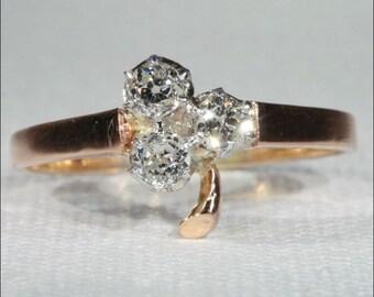 Antique Diamond Ring, Clover Shaped c. 1890