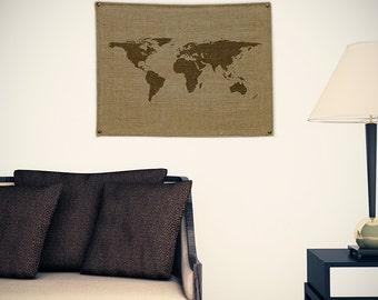 World Burlap Map