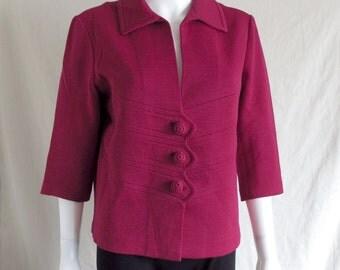 Vintage 60s Raspberry Violet Knit Virgin Wool Women's Jacket by Promenade Ltd.