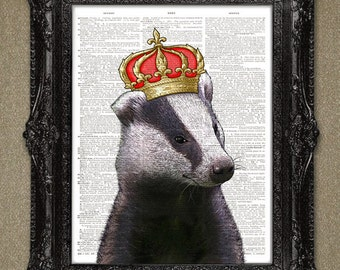 Badger Dictionary art print.  Buy any 3 get 1 FREE! Wall Decor, Wall Art Collage. Badger King animal DICTIONARY PAGE art print....