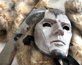 Cosplay Stark House. Game of Thrones venetian mask. Hand-embossed dire wolf.