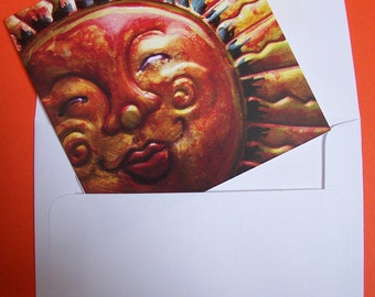 Smiling Copper Sun Blank Cards, Bright Unique Notecards, Sun Face Stationary