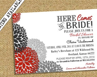 Bridal Shower Invitation Dahlia Floral Red Black White Gray