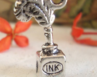 Feather Quill Ink bottle  charm ,Old world Steampunk  style,Quill & Ink Set charm