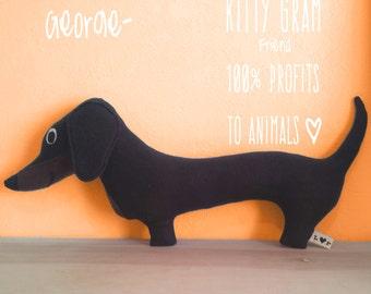 George Dachshund KITTY GRAM Friend Plush Dog Fundraiser 100% Profits to Animals