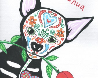 Day of the Dead Chihuahua Romance / Valentines Card