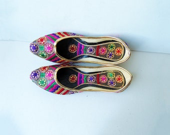 Ethnic Shoes Embroidery Pink Flowers Gold Threat Leather Flats Size 8