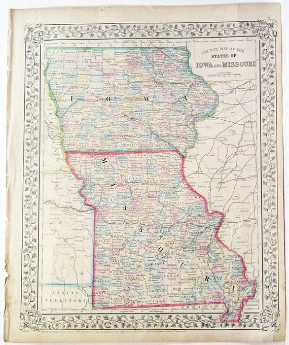 States Of Missouri Amp Iowa Hand Colored Atlas By