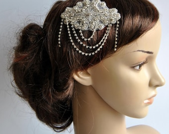 Crystal Bridal Art Deco Hair Comb, Downton Abbey, Great Gatsby, Vintage Inspired Hairpiece, Bridal Hair Accessory, Crystal Headpiece