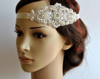 Pearl Rhinestone flapper Gatsby Headband, Wedding Headband, Crystal Headband  Headpiece, Halo Bridal Headpiece, 1920s Flapper headband