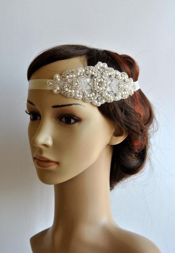 Pearl rhinestone flapper gatsby headband wedding headband crystal