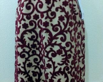 Vintage Skirtin Around Deep Red and Weath Brocade Skirt Size 8