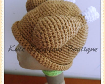 Crochet Turkey Dinner Hat!  Turkey Hat. Baby/Adult Size. Crochet Turkey hat!