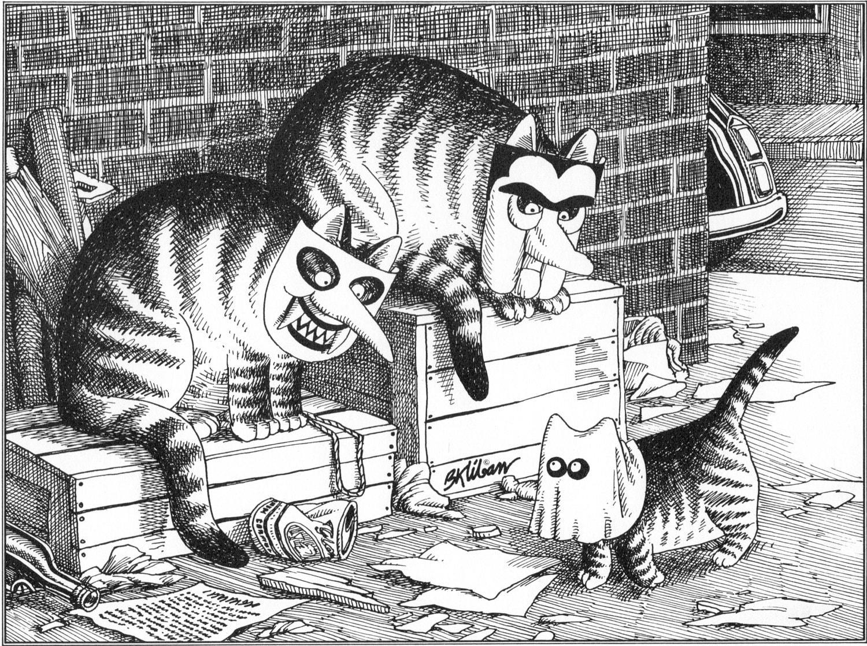 B Kliban Cat Original Vintage Art Print Halloween Trick or