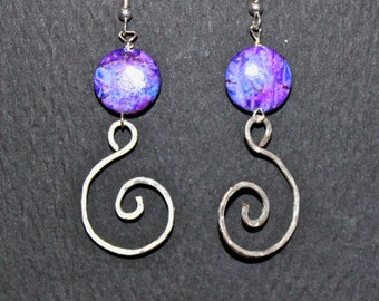 Purple Pink and Blue Glass Hammered Silver Spiral Earrings