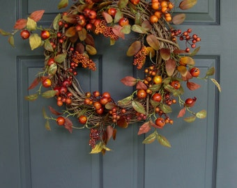 Fall Berry Wreath | Fall Decor | Door Wreath | FALL Wreath |Thanksgiving Decoration | Wreath | Fall Wreaths | Outdoor Fall Wreaths