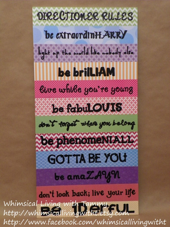 Diy One Direction Wall Decor : Whimsical directioner rules sign one by