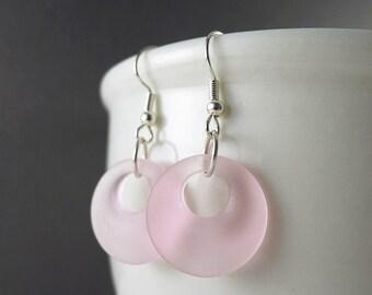 Pink sea glass earrings seaglass jewelry dangle earrings tumbled glass jewelry frosted glass recycled glass pink glass beads beaded jewelry
