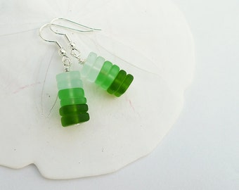 Sea glass earrings with green sea glass and sea foam sea glass jewelry seaglass earrings sea glass jewelry stacked handmade earrings gift