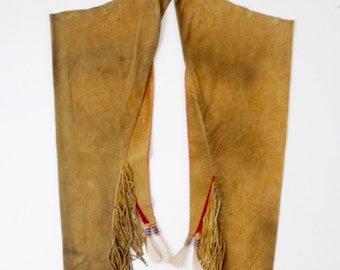 vintage Native American chaps,  buckskin pants