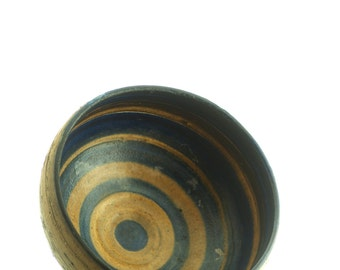 Beautiful stoneware bowl, with dark blue stripes.