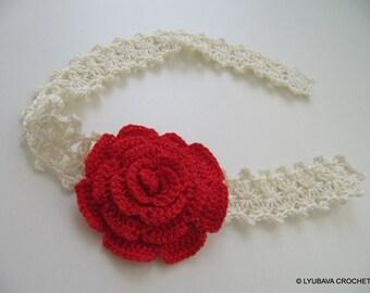 Red Rose Flower Crochet Headband For Baby Girl - Baby Shower Gift - Baby Girl Flower Headband - Handmade Crochet Item - Ready to Ship