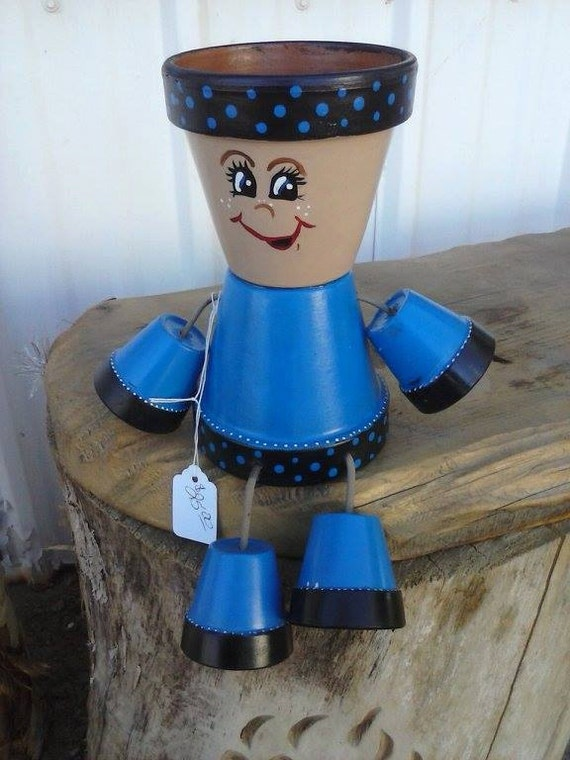 Flower pot people planter for How to make clay pot people