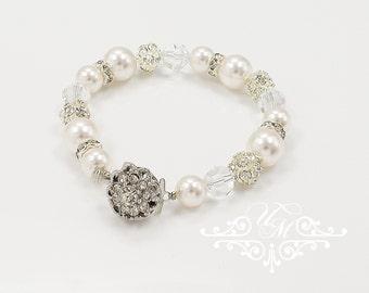 Wedding Jewelry Wedding Bracelet Single strand Swarovski Pearl Bracelet Swarovski Crystal Bracelet Bridal Bracelet Bridesmaids Bracelet