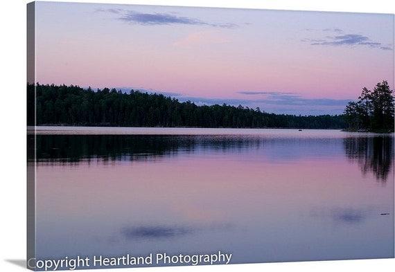 Large BWCA Canvas, Boundary Waters, Nature Landscape, Pink and Purple, Sunset Photo, Nature Photography, Minnesota Canvas, Wall Art