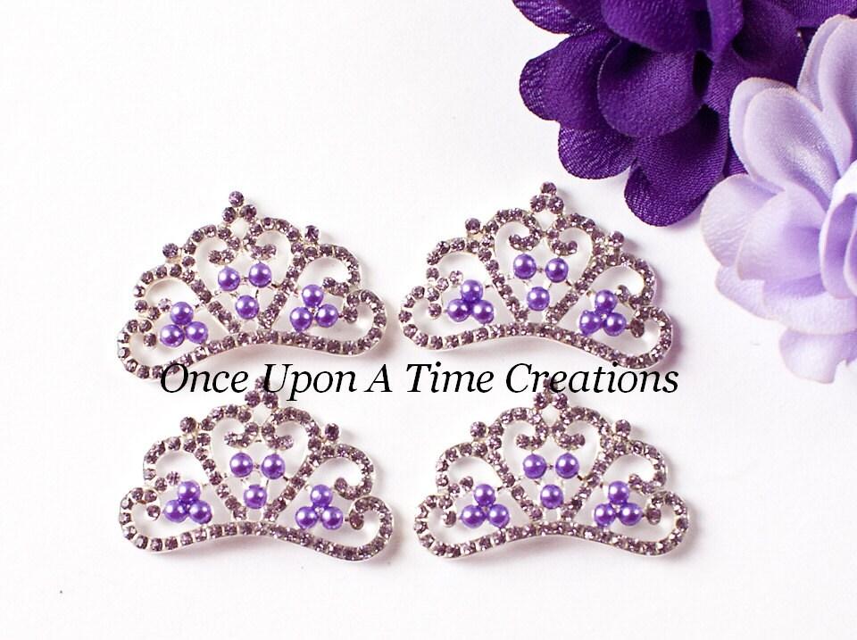 SALE Purple Tiara Princess Crown Shaped Metal Rhinestone